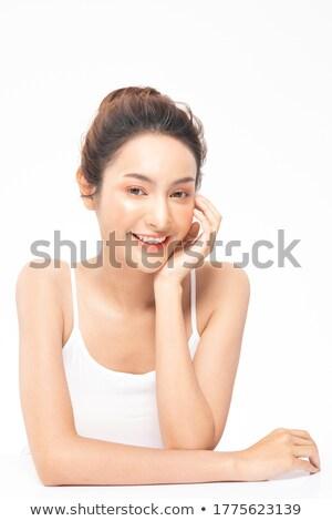 belo · asiático · modelo · brilhante · make-up · queimadura · de · sol - foto stock © deandrobot