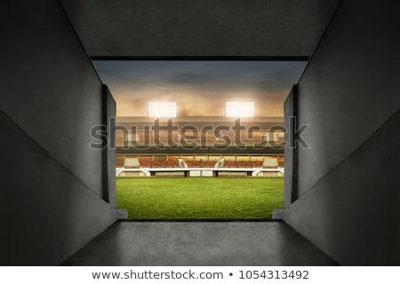 Sport stadion tunnel afgelegen kijken beneden Stockfoto © albund