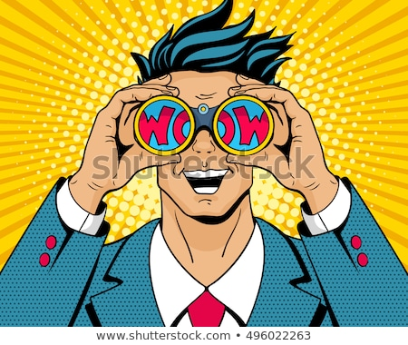 Pop-Art Mund wow Karikatur Comic Illustration Stock foto © rogistok