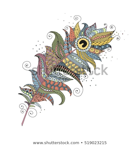 Tattoo art design of Floral Feather collection Stock photo © vectomart