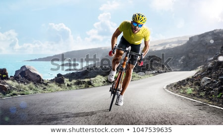 Grupo ciclistas carretera carreras aislado blanco Foto stock © sgursozlu