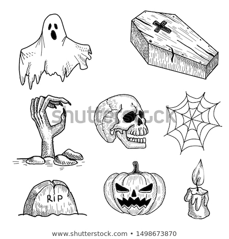 Zombie in coffin draws hand. Halloween illustration Stock photo © MaryValery