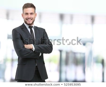 Sorridente homem terno retrato alegre empresário Foto stock © filipw