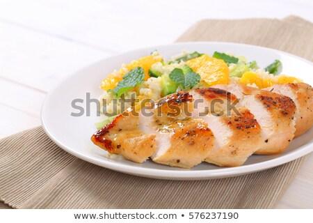 鶏の胸肉 コメ オレンジ 白 プレート ストックフォト © Digifoodstock