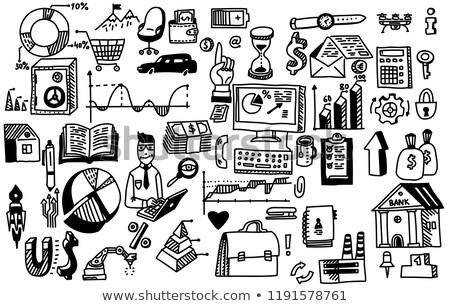 Kézzel rajzolt tanul statisztika tábla kicsi citromsárga Stock fotó © tashatuvango