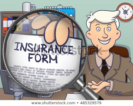 insurance form through magnifier doodle style stock photo © tashatuvango