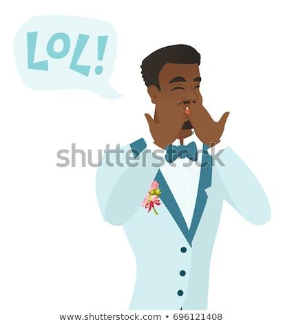 Jonge bruidegom lachend uit luid tekstballon Stockfoto © RAStudio