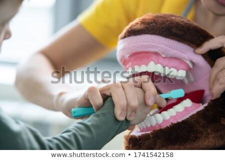 Dentist teaching boy brushing teeth at clinic Stock photo © wavebreak_media