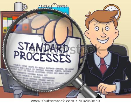 Standard Process through Magnifier. Doodle Concept. Stock photo © tashatuvango