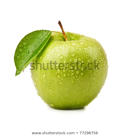 Stock photo: green apple dew drops