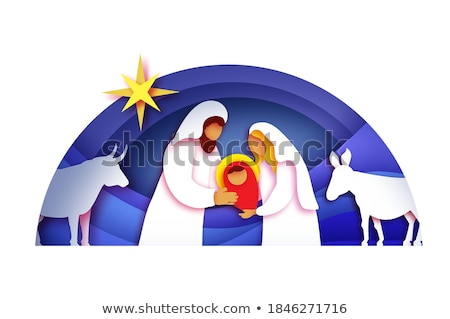 Nativity Christmas Scene Paper Art Style Stock photo © Krisdog