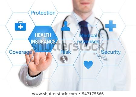 Egészségbiztosítás gomb karcsú alumínium billentyűzet kék Stock fotó © tashatuvango