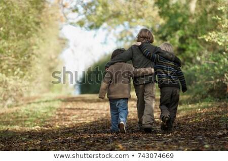 Stock fotó: Három · fiúk · sétál · felfelé · vidék · sáv