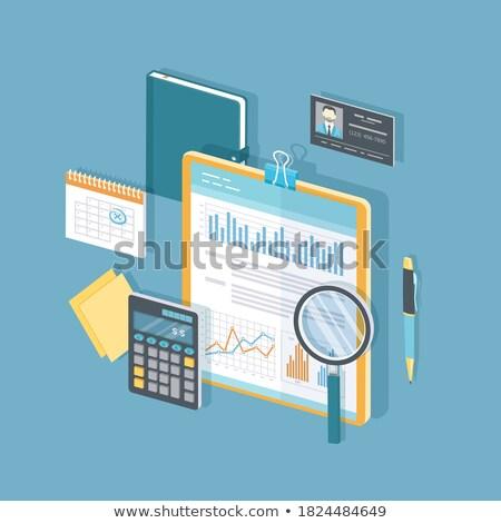 Stock fotó: Vágólap · információ · 3D · üzlet · számológép · szemüveg