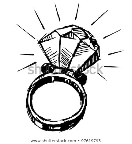 Eljegyzési gyűrű gyémánt rajz ikon vektor izolált Stock fotó © RAStudio