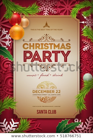 Vector Christmas Party Flyer Design with Holiday Typography Elements and Ornamental Ball, Pine Branc stock photo © articular