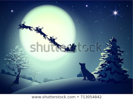 Santa in night sky against background of full moon. Dog silhouette looks up at sky. Christmas greeti Stock photo © orensila
