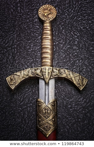 Medieval espada caballero negro acero hoja Foto stock © Glasaigh