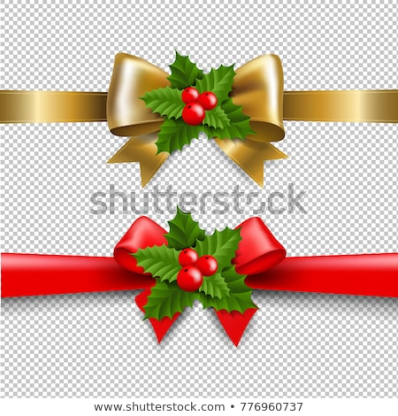 Golden And Red Bow With Holly Berry- Stock photo © cammep