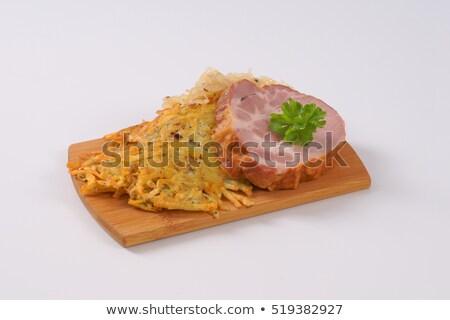 Füstölt disznóhús krumpli palacsinták savanyú káposzta tányér Stock fotó © Digifoodstock