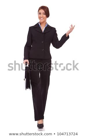 Egészalakos kép boldog üzletasszony gyönyörű fehér Stock fotó © feedough