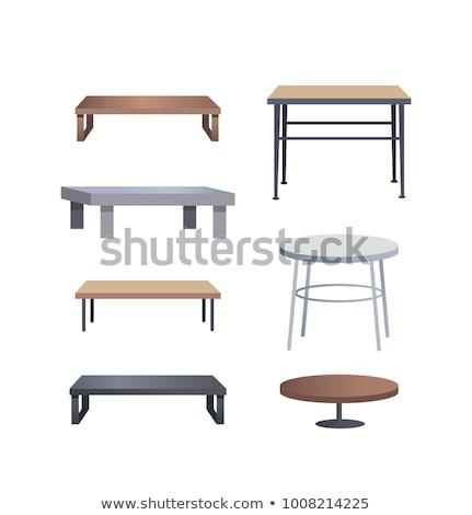 Branco mesa de café vetor desenho animado ilustração madeira Foto stock © RAStudio