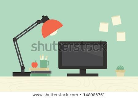 Desk light lamp icon in flat style stock photo © studioworkstock