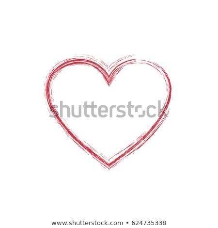 рисованной · красный · сердце · тень · изолированный · икона - Сток-фото © studioworkstock