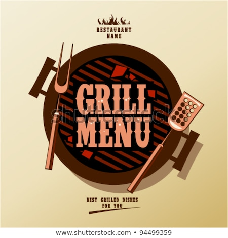Barbecue grill with grilled kebabs icon Stock photo © studioworkstock