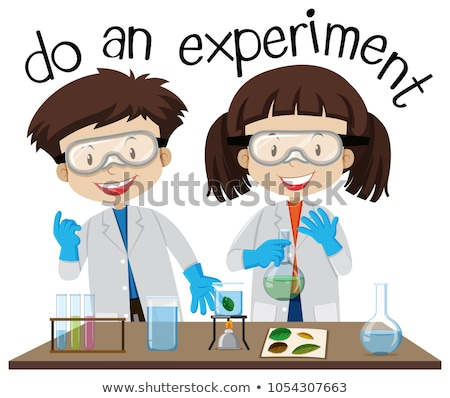 Two kids doing experiment in science lab Stock photo © bluering