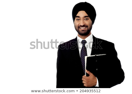 Indian businessman standing with document Stock photo © studioworkstock