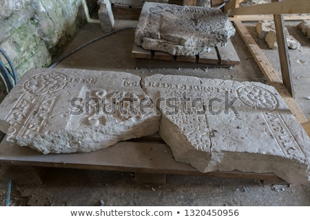 Stone carving - reconstruction of medieval stone work Stock photo © stefanoventuri