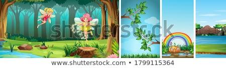 quatre · montagnes · illustration · arbre · nature · paysage - photo stock © bluering