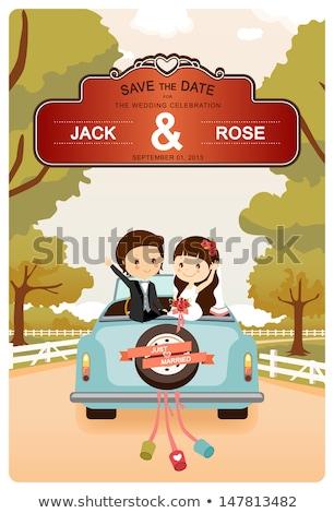 Ifjú pár nászút régi autó esküvő nyár jókedv Stock fotó © IS2