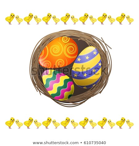 Yellow nest of colourful eggs Stock photo © IS2