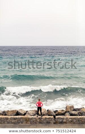 ランナー 街 見える 海 表示 ストックフォト © blasbike