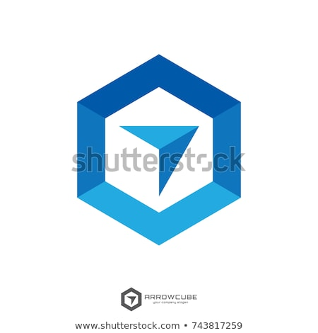 hexagon box arrow, abstract polygon logo template. logistic delivery courier transport service logo  Stock photo © taufik_al_amin