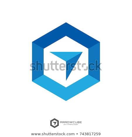 hexagon box arrow, abstract polygon logo template. logistic delivery courier transport service logo  stock photo © taufik_al_amin