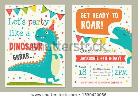 dinossauro · desenho · animado · paisagem · animais · dragão · felicidade - foto stock © lenm