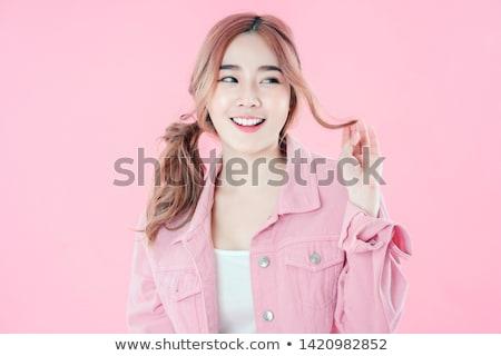 menina · escala · maçã · retrato · feliz - foto stock © feedough