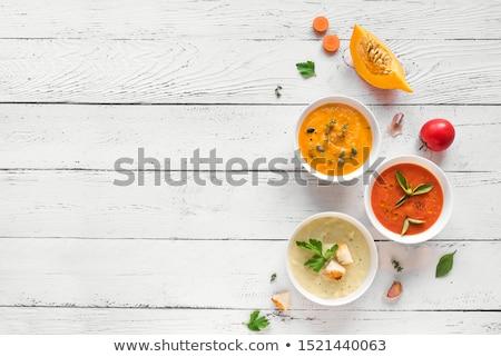 sopa · de · tomate · rústico · taza · caliente · esmalte · alimentos - foto stock © melnyk