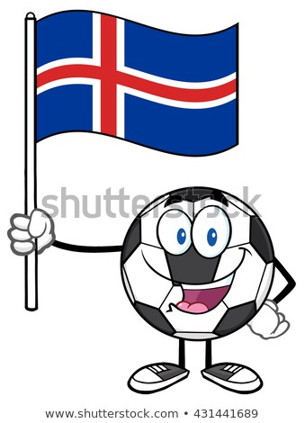 ストックフォト: 幸せ · サッカーボール · 漫画のマスコット · 文字 · フラグ