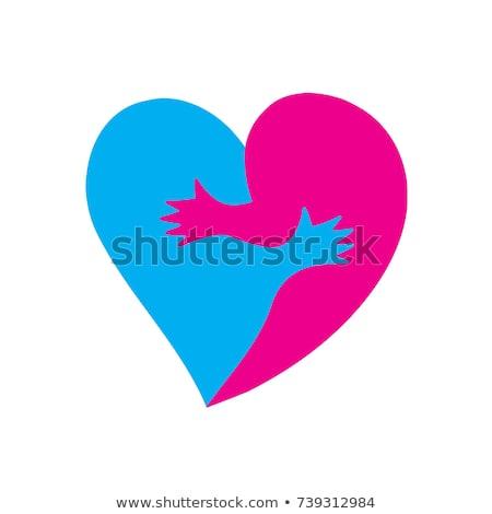 Love two halves of heart. hugs passion Stock photo © popaukropa