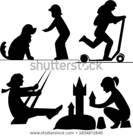 Сток-фото: набор · мальчика · собаки · иллюстрация · трава · счастливым