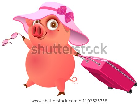 Fun pig in pink hat with suitcase is on vacation Stock photo © orensila