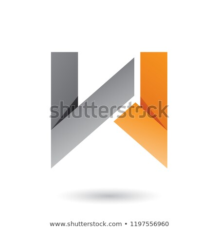 Grey and Orange Folded Paper Letter W Vector Illustration Stock photo © cidepix
