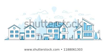 Kunyhó ház vékony vonal terv stílus Stock fotó © Decorwithme