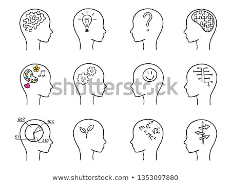Zdjęcia stock: Human Head With Gears Hand Drawn Outline Doodle Icon