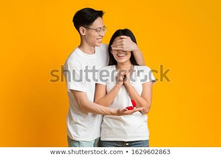 man · glimlachend · vriendin · restaurant · wijn · licht - stockfoto © deandrobot