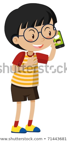 kid boy talking on mobile phone vector isolated illustration stock photo © pikepicture